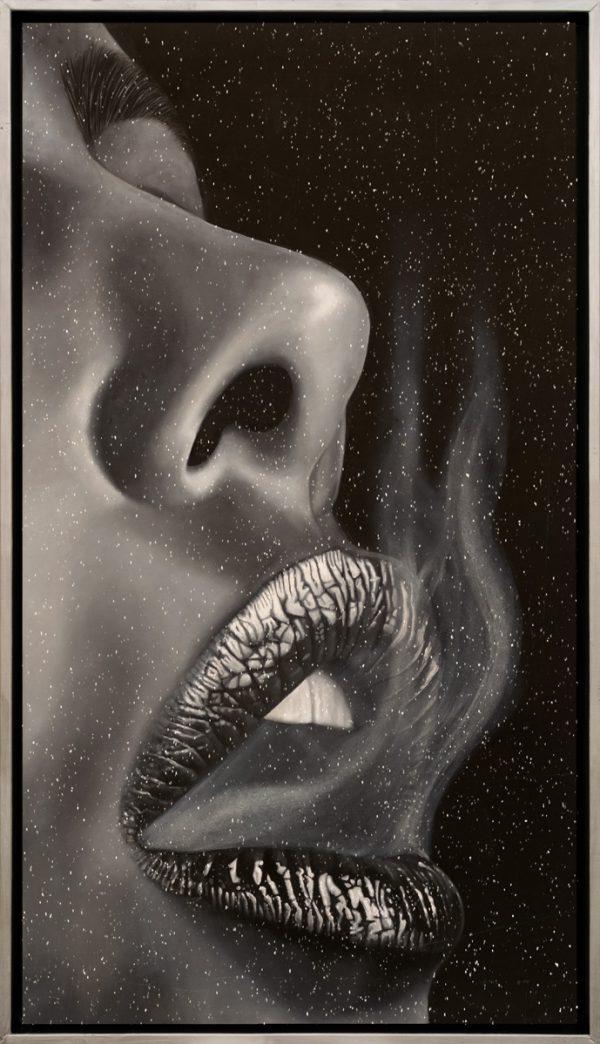 Glossy Lips | Barbara Mietz Steinmann | Ölfarbe & Diamond Dust auf Leinwand | 130 x 70 cm | Unikat im Schattenfugenrahmen