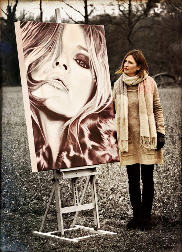 """Kate Moss"" | Barbara Mietz Steinmann | Ölfarbe & Diamond Dust auf Leinwand | 130 x 100 cm | Unikat"