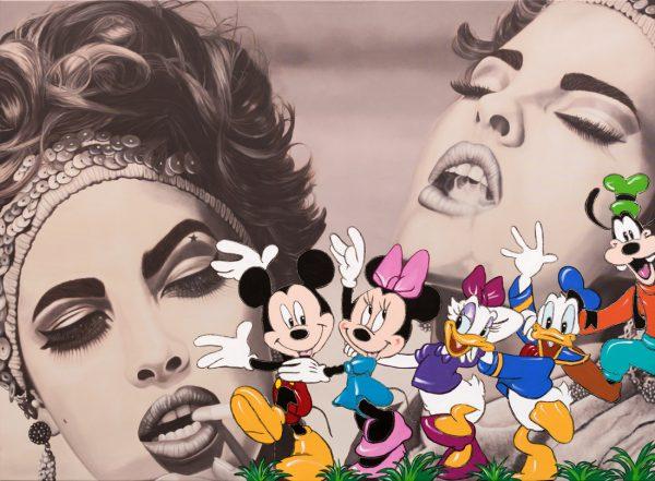 """Linda & Christy"" | Disney Parade | Barbara Mietz Steinmann | Mixed Media auf Leinwand | 160 x 220 cm"